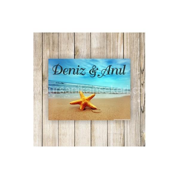Deniz Yıldızlı Deniz Kabuklu Nikah Şekeri Etiketi - 076