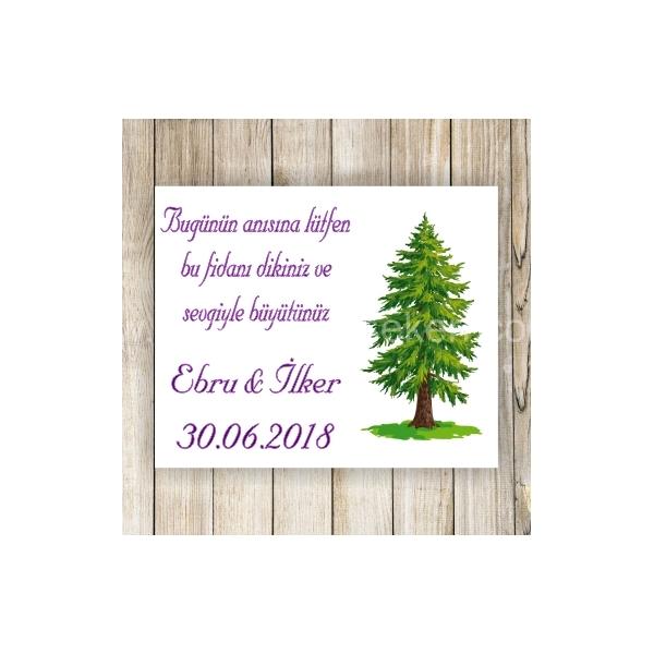 Çam Agacı Hediyelik Nikah Şekeri Etiketi - 085
